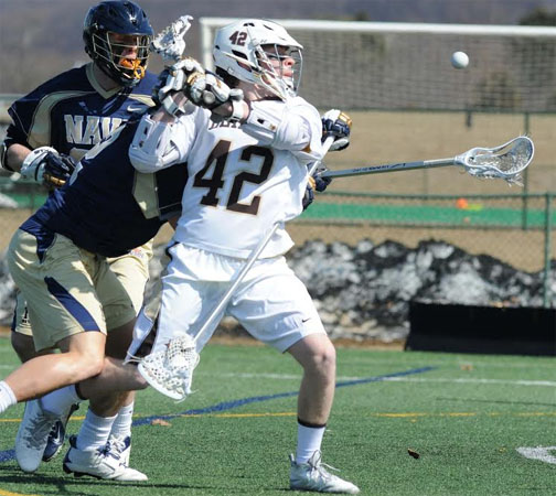 Lehigh's Patrick Corbett fires in traffic (Photo courtesy of Lehigh Lacrosse)