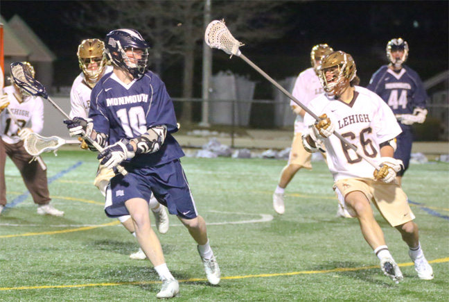 Tripp Telesco of Lehigh defends Monmouth's Chris Daly (Lower Merion)