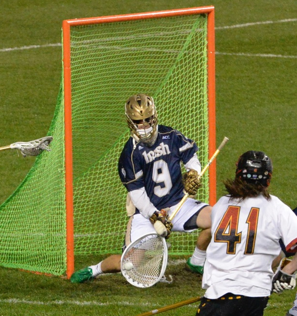 Notre Dame goalie Conor Kelly (Haverford School) makes another key save in Friday's victory (Photos for Phillylacrosse.com)