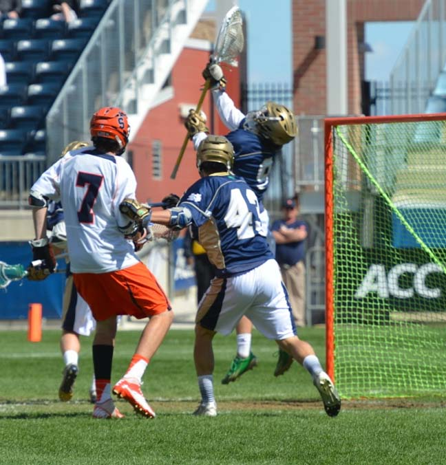 Notre Dame goalie Conor Kelly (Haverford School) makes the final save to presderve theirish's 15-14 win ocer Syracuse in the ACC Championship game at PPL Park( (Photo for Phillylacrosse.com)