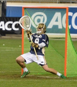 Notre Dame goalie Conor Kelly (Haverford School) makes his final and 12th save in Friday night's stunning win (Photo for Phillylacrosse.com)