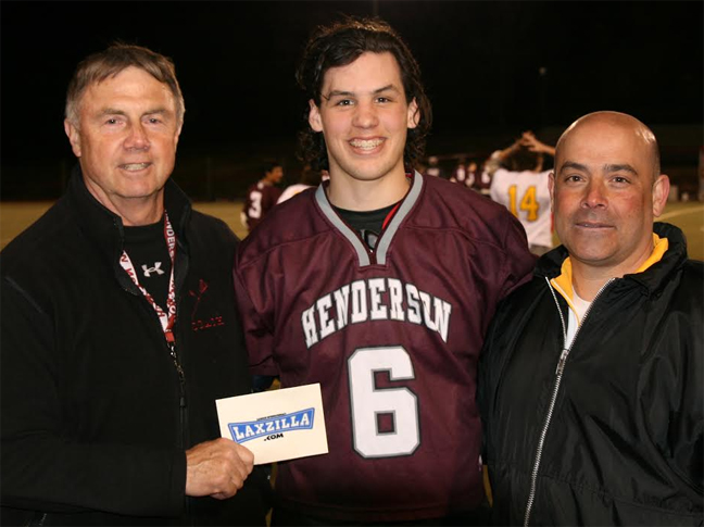 "henderson coach Paul Stankewicz (left) and West Chester East coach Jim Schorn pose with ""Blue Collar"" winner jake Richard of henderson after Tuesday's game. Richatd was awarded a $150 gift certificate by Lacrosse International."