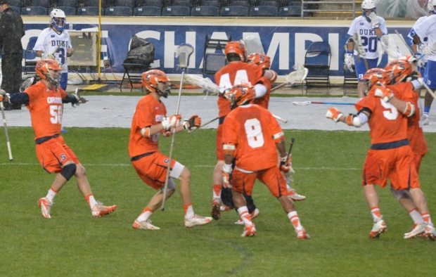 Syracuse celebrates the winning goal in Friday's 16-15 victory over Duke in the ACC semifiinals (Photo for Phillylacrosse.com)