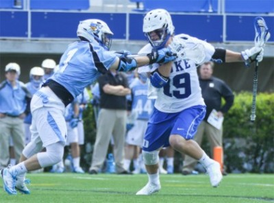 Johns Hopkins' Joey Carlini (Malvern Prep) defends Christian Walsh of Duke