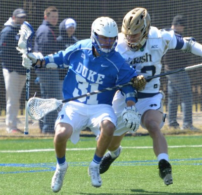 Duke's Jordan Wolf (lower Merion), seen here earlier in the year against Notre Dame, is the key to the Blue Devils' attack