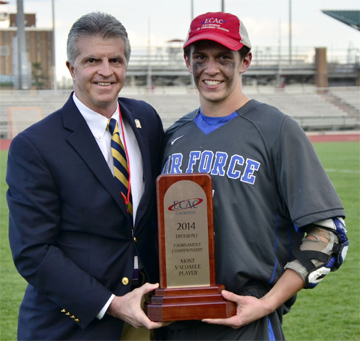Keith Dreyer (malvern prep) of the Air Force receives the ECAC Tournament MVP award after leading his team to the league crown Saturday