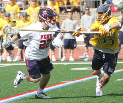Drexel's Miles Thomas (Conestoga) defends Zack Losco (Photo by Rene Schleicher)