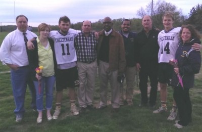 From Left to right- Interim HC Mike DiPuppo, Jack Dudo (#11) & his mother and father, Coach Al Stevenson (who was able to make it out to the game!), Asst. Coach Geoff Trotter, & David Pretsch (#14) & his mother & father