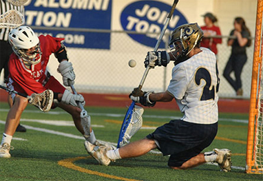 Spring-Ford goalie Matt messerle makes one of his 21 saves (Photo courtesy of PAC-10Sports.com)