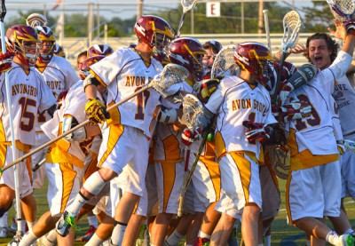 Avon Grove celebrates its 10-6 win over Radnor and a berth in the state finals (Photo courtesy of chesmontsports.com)
