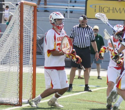 Penncrest's Dylan McCleaft makes one of his 14 saves during Saturday's win (Photo by Rene Schleicher)