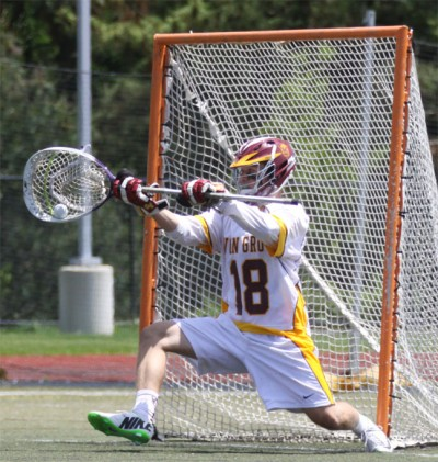 Will Schreiner makes one of 11 saves (Photo by Rene Schleicher)
