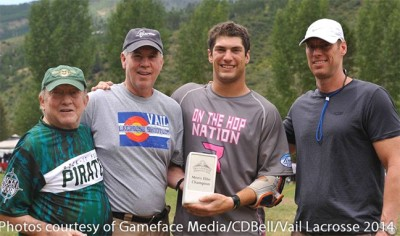 Flip Naumberg, Jim Soran, Ryan Tucker and Paul Landaiche pose after the Vail Lacrosse Elite championship