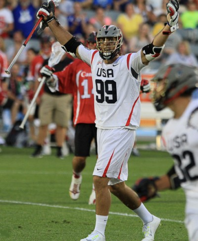USA's Paul Rabil celebrates a goal (Photo by John Flickinger)