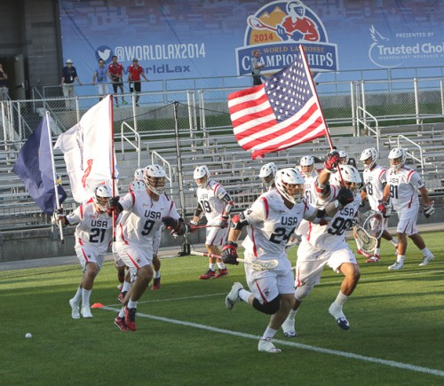 Philly's Greg Gurenlian (98) leads US out vs. Canada in title game