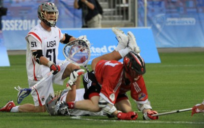 USA DEF Tucker Durkin (La Salle, No. 51) defends in a scramble during Thursday's 10-7 win over Canada