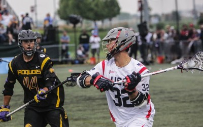 USA's Rob Pannell (right) is defended by Taylor Smoke of the Iroquois (Photo by John Flickinger)
