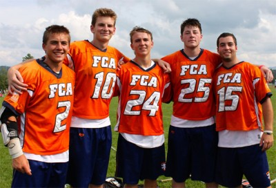FCA 2015 players from Philly (from left): Grant Ament (Haverford School), Jake Peden (Downingtown East), Drew Supinski (Haverford School), Curtis Zappala (Episcopal Academy), Charles Kelly (Malvern Prep)