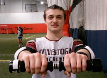 Former Conestoga standout Christian Jobs demonstrates using the Stik to improve hand, wrist,, forearm strength