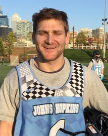 Johns Hopkins senior goalie and co-captain Eric Schneider