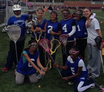 "The Stoga 5v5 LaxFest featured a 7th grade team from Thurgood Marshall Middle School in Philadelphia, shown here posing with Sara Nicholson, the team's ""Host Coach"" and Co-Captain of the Conestoga Girls' Lacrosse team (far right)"