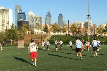Philly city skyline view from Penn Park Saturday at the 2nd annual University City Classic by the HEADstrong Foundation
