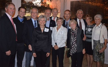 "Larry Berger is honored: ""Philly Crew"", fom left to right:  Scott Growney, Ryan Berger, Larry Berger, Julie Berger, Lee Stevens, John Doubman, Barbara Doubman, Randy Marks, Mary Packard, John Linehan, Barbara Linehan, and Valerie Walchak."