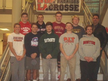 Top Row from Left:  Matt Vetter - University of Tampa, Dustin Buchanan - St. Josephs University, Jeff Circuit - Colorado Mesa University, Mitch Narkoff - DePauw University, Head Coach - Bruce Garcia Bottom Row Left:  Ryan Cataldo - Susquehanna University, Mike Eveland - Robert Morris University, Jack Auteri - Dartmouth College, Matt Brown - Rochester Institute of Technology, Sean McGovern - Boston University
