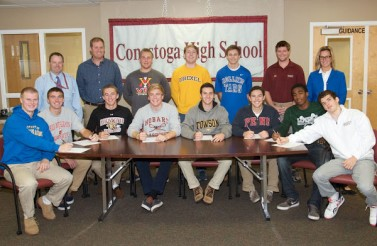 Conestoga boys: 1st Row (from left); Matt Nagle, Coast Guard Academy; Steven Hildebrand, Ohio Wesleyan; Sam Friedman, Lafayette; Parke Schweiter, Hobart; Dylan Sidoriak, Towson; Matt Schleicher,– Penn; Damase Bagbonon, Loyola; Chris Brady, Lafayette. 2nd Row, Pat Boyle, Asst Principal/Athletic Director; Brain Samson, former Head Coach; Robert Sedlak, VMI; John Roulston, Drexel; Greg Taicher, Rollins; Brody Bush, Assistant Coach; Dr. Amy Meisinger. Principal