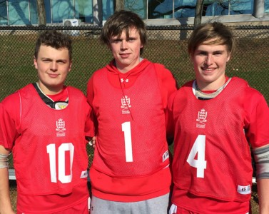 England Academy's Daniel Matthews (left), Elliott Hurry, Grady Jackson-Fayle