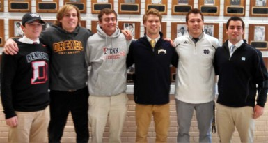 Malvern Prep signing - From Left to Right: Ryan Antell, Matt Klinges, Mike Mulqueen, Luke Hoffman, Drew Schantz, Charles Kelly