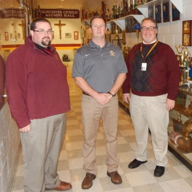 Left to right: Former head coach (now assistant) Ryan Murphy, coach Bill Keane, Principal Ed Beckett