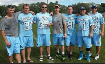 Nine players from the Philly area were part of the team's wins over Elder Statesman (Hobart) in the semis and Rusty Red (Cornell) in the Championship game.  Pictured from left to right are: Eric Gorman (G), Joe Dettore (D), Doug Corrigan (D), Pat Carney (G), John Hoffman (A), Paul Linko (LSM), Neal Pettinelli (LSM). Not pictured: Chris Maits (LSM), John Chessock (M).