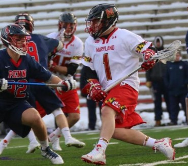 Maryland's Matt Rambo (La Salle) is defended by Eric Kersky (Photo by Rene Schleicher)