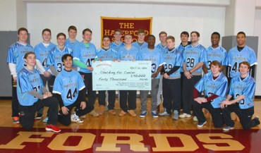 The Haverford School senior lacrosse players pictured with this year's CFC donation: (front, l to r) Jack Doran, Brandon Shima, Shane McBride, Tucker McBride. (back, l to r) Connor Atkins, Logan Atkins, Peter Rohr, Noah Lejman, Colin Bosak, Grant Ament, Sam Denious, Drew Supinski, Corey Richards, Phil Poquie, Brendan Jacob, Brian Casey, Chris Sabia, Ben Euler, Niles Easley, Lane Odom. (missing: Jake Hervada, Miller Joyce)