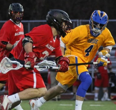 Albright's Matt Lomady (Abington) id defended by Widener's Brandon Swwder (Lenape) during Wednesday's victory