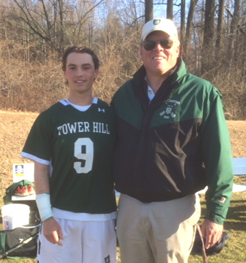 Tower Hill record-breaker Andrew Pettit and coach Brad DuPont pose after Wednesday's game