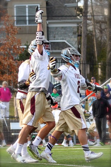 Grant Ament (right) and Dox Aitken celebrate the winning goal for Haverford School