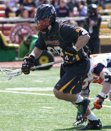 Ursinus face-off specialist James Fairchild won 15 of 19 at the X (Photo by Alan Simpson)