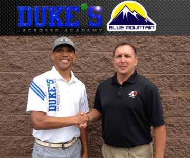 Dukes Lacrosse Academy Director  Lou Gonzalez and Blue Mountian's Doug Bailey