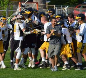 Justin McQuaid (front) and his Bucs celebrate a big victory in 2015