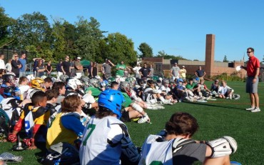 Coach John Tillman speaks at Duke's Ricky Whelan Clinics