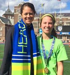 Delaware's Coley Ricci (right) and Blue Hen coach Kateri Linville