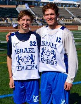 Cousins Jonah Haas (2016 LSM – Friends School of Baltimore, left) and Jakob Katzen (2016 GK – Wilmington Friends School) competed Oct. 11 for the Israel U19 team in an exhibition game against a Baltimore club at Stevenson University. Jakob had 9 saves in a loss to  the Zingos.