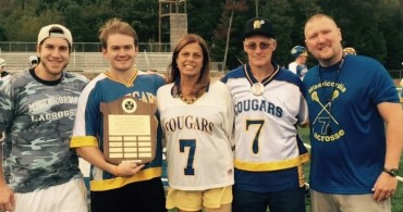 From left, Jared Hunt (2014 award recipient), Patrick Johnson( 2015 Award recipient) , Beckie Davis, Jim Davis, Jim Ricardo, Head Coach Misericordia Men's Lacrosse