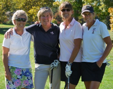 "L to R: ""Deb's Bulldogs"" - Leslie Lane, Laurie Markle, Michelle Doyle and Besty Dougherty, all US Lacrosse Hall of Fame (Eastern Pennsylvania Chapter) members, who played in honor of Deb Andress (who was inducted to the HOF posthumously this past February)."