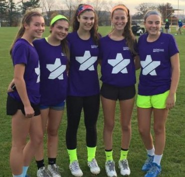 Five members of the CT Grizzlies earned Fab 40 honors at the Girls Philly Showcase on Sunday; (from left) Julia Skillin, Nicole Humphrey, Olivia Caan, Grace Fahey and :Lauren Jennings