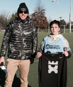 Smithtown West's Conor Calderone (Laxachusetts)  was the Philly Freshman Showcase champion in the King of the X. He is seen here with Showcase Lacrosse Director Brett Manney