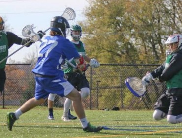 Everest Academy (Ontario) 2017 attackman Corson Kealey fires a shot vs.  the NJ Shamrocks (Photo by Rene Schleicher)