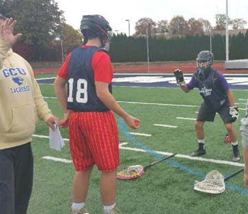 Positional drills at the Jersey Showcase